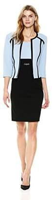 Sandra Darren Women's 2 Pc 3/4 Sleeve Color Block Bullet Knit Sheath Jacket Dress