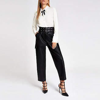 River Island White bow embellished collar shirt