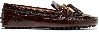 Tod's Gommino Tasseled Croc-effect Patent-leather Loafers - Brown