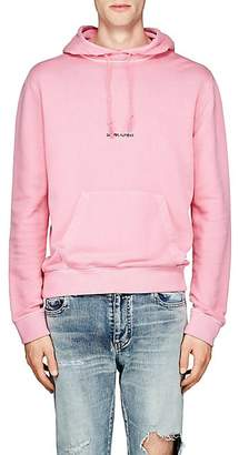 Saint Laurent Men's Logo Cotton Terry Hoodie - Pink