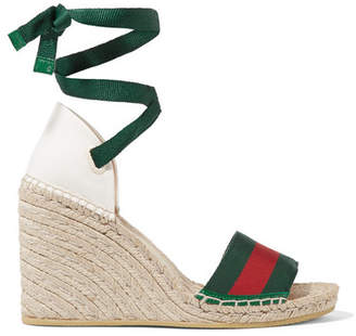 Gucci Lilibeth Striped Grosgrain And Canvas Wedge Espadrilles - Emerald