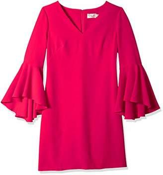 Eliza J Women's Plus Size V-Neck Bell Sleeves Shift Dress
