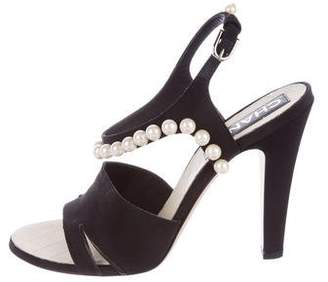 Chanel Faux Pearl Ankle Straps Sandals