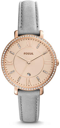 Fossil Jacqueline Three-Hand Date Light Gray Leather Watch