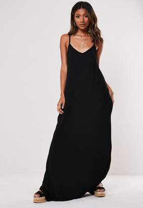 Missguided Black Jersey Pocket Maxi Dress