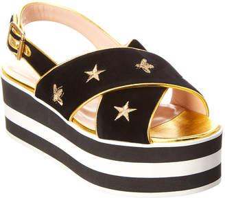 Gucci Embroidered Velvet Crossover Platform Sandal