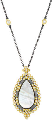 Freida Rothman Flat Mother-of-Pearl Framed Teardrop Pendant Necklace