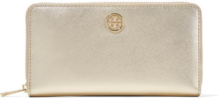 Tory BurchTory Burch Robinson metallic textured-leather wallet
