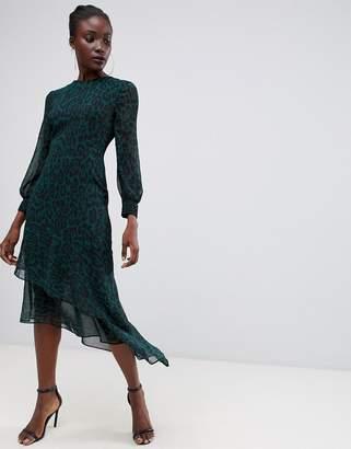 Warehouse midi dress with asymmetric hem in green leopard print
