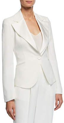 Emporio Armani Exaggerated Satin Lapel One-Button Cady Jacket