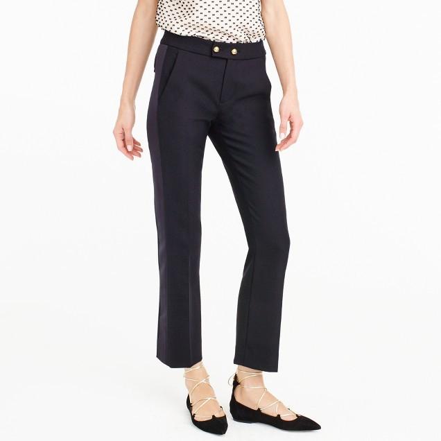 J.CrewPetite cropped wool pant with satin tux stripe