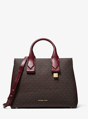At Michael Kors Rollins Large Logo And Leather Satchel