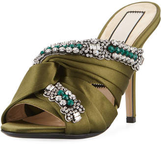 No.21 No. 21 Satin Sandal with Crystals