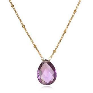 Satya Jewelry Women's Amethyst Gold Pear Shape Drop Necklace 18-Inch