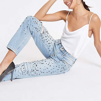 River Island Mid blue jewel embellished boyfriend jeans