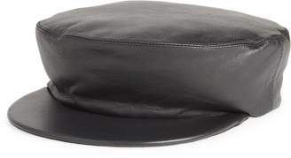 CLYDE Acton Lambskin Leather Baker Boy Cap