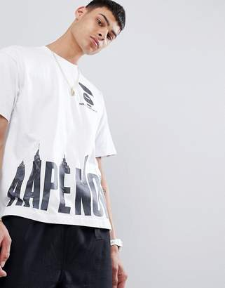 A Bathing Ape AAPE BY AAPE By boxy fit t-shirt with camo logo hem print in white