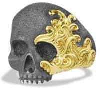 David Yurman Waves Large Gold Skull Ring