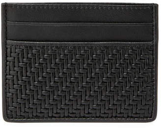Ermenegildo Zegna Pelle Tessuta Woven Leather Card Case, Black