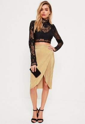 Missguided Petite Gold Exclusive Pleated Wrap Midi Skirt