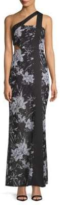 BCBGMAXAZRIA One Shoulder Floral Gown
