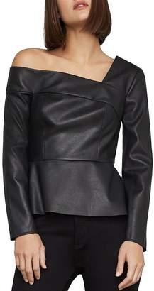 BCBGMAXAZRIA One-Shoulder Faux-Leather Peplum Top