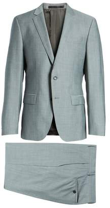 BOSS 'Huge/Genius' Trim Fit Solid Wool Suit