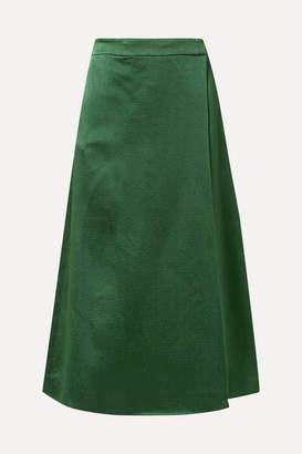Theory Draped Skirt-effect Hammered-satin Wide-leg Pants - Emerald