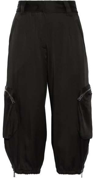 Fendi - Cropped Satin Cargo Pants - Black