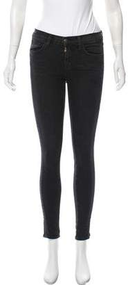 J Brand Pleat Accented Mid-Rise Jeans