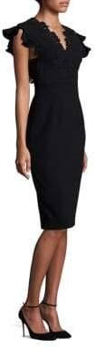 Rebecca Taylor Crepe& Lace Sleeveless Bodycon Dress