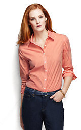 Lands' End Women's Tall Long Sleeve No Iron Shirt-Chilled Gray Print $69 thestylecure.com