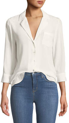 L'Agence Amlina 3/4-Sleeve Silk Button-Front Blouse