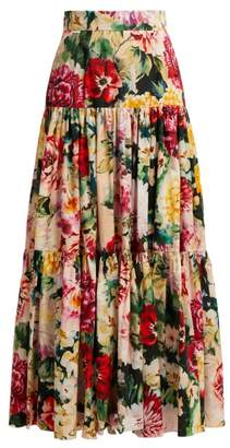Dolce & Gabbana Tiered Floral Print Cotton Skirt - Womens - White Multi