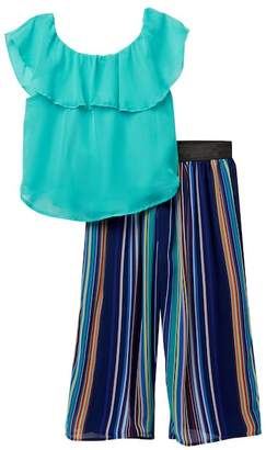 Beautees Ruffle Neck Top & Flowy Striped Pant Set (Big Girls)