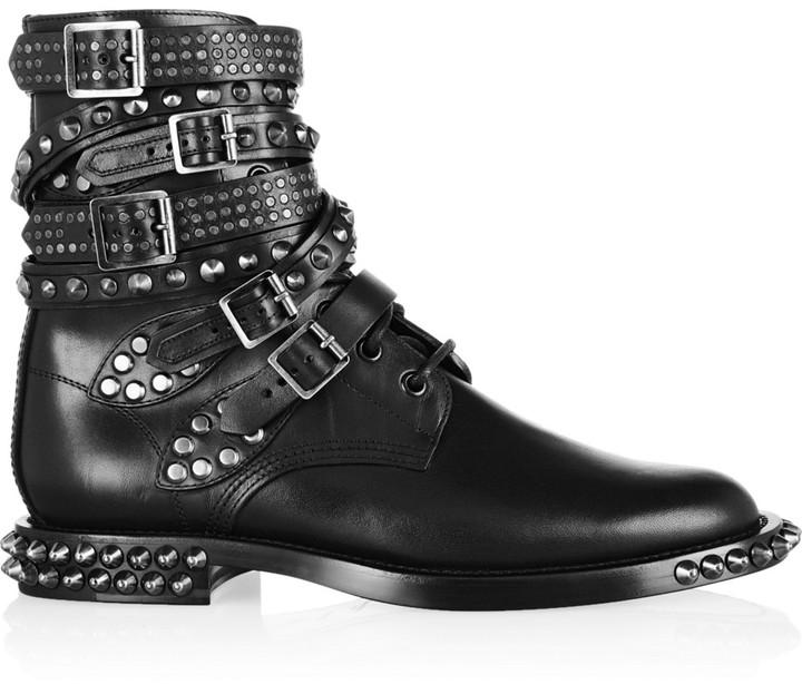 Saint Laurent Signature Rangers Studded Leather Boots