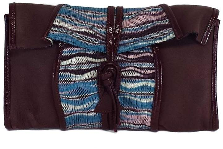 Missoni Maroon & Blue Leather Striped Clutch