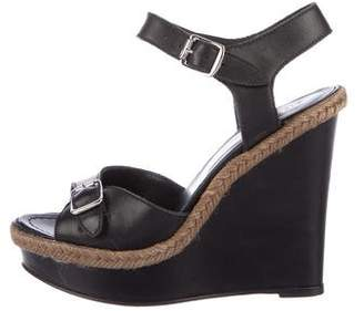 Barneys New York Barney's New York Leather Ankle Strap Wedges