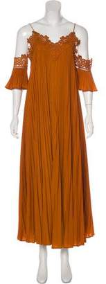 Self-Portrait Pleated Maxi Dress