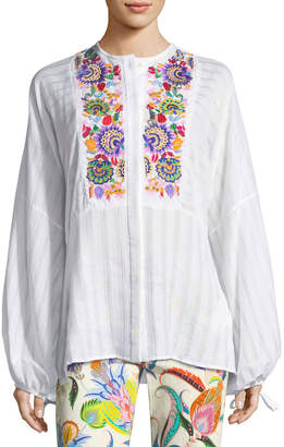 Etro Cotton Peasant Blouse With Multi Embroidery