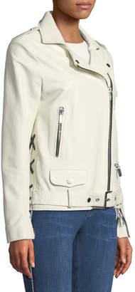 Nour Hammour Oversized Lambskin Leather Biker Jacket