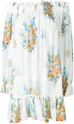 Alexander McQueen floral off-the-shoulder smocked dress