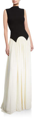 Lela Rose Pleated High-Neck Gown