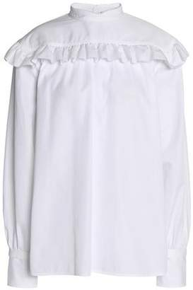 Helmut Lang Ruffled Cotton-Ottoman Blouse