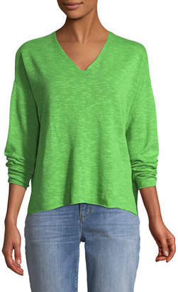 Eileen Fisher Organic Linen-Blend V-Neck Top