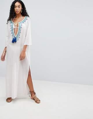 Liquorish Maxi Beach Dress With Embroidered Emblem
