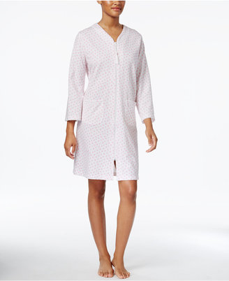 Miss Elaine Floral-Print French Terry Zip-Front Short Robe $72 thestylecure.com