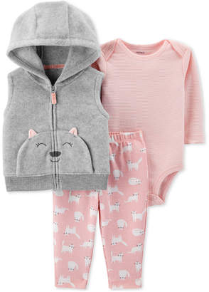 Carter's Baby Girls 3-Pc. Cat Fleece Vest, Bodysuit & Printed Leggings Set