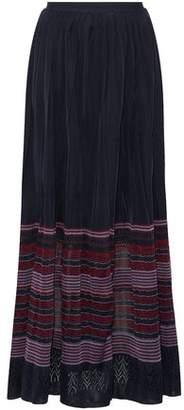 Oscar de la Renta Pleated Crochet-Knit Maxi Skirt