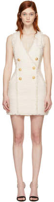 Balmain White and Ecru Tweed Mini Dress